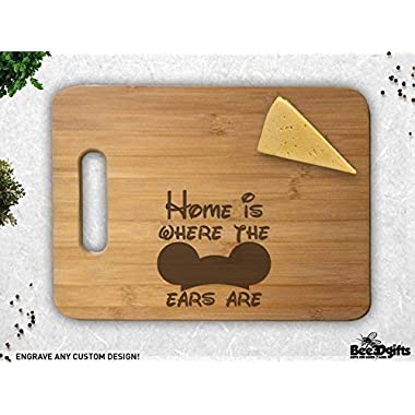 Home is Where the Ears Are Anniversary Wedding Christmas Gift Personalized Cutting Board Engagement Bamboo Cutting Board Chopping Block