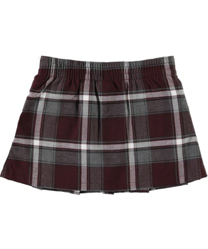 French Toast Big Girls' Buckled Plaid Scooter Skirt - Burgundy/Gray/White