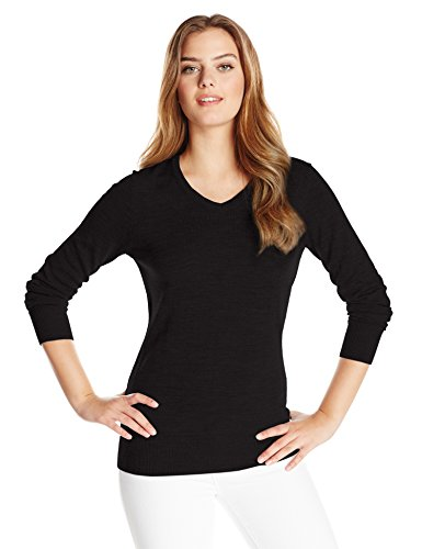 Cutter & Buck Women's Soft Merino Blend Douglas Long Sleeve V-neck Sweater, black, M ()