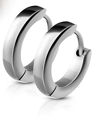 14MM Hoop Earrings Surgical Stainless Steel Rhodium Plated Earrings For Men Women Huggie Hypoallergenic Hoop Earrings (Silver) by Jewels Fashion
