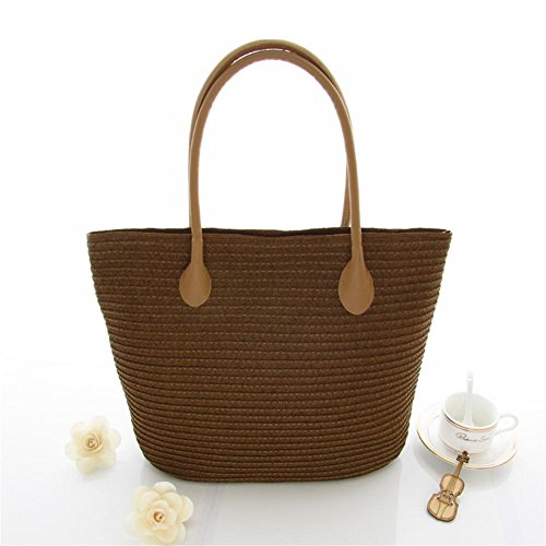 handbag Women's European handmade Rattan Handbags Shoulder random Pack Beach Simple Woven Style Bag khaki Women Dark Brown Bag 100lb Bag Straw Totes Straw 100lb Bag Shoulder Modern drH8rW