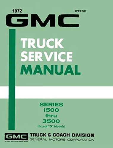 1972 GMC TRUCK & PICKUP REPAIR SHOP & SERVICE MANUAL Includes; 1500, 2500, 3500, C, K, P, Fenderside, Wideside, pickup, Sierra,Grande, Custom, Super,panel, 3+3 crew cab, bonus cab, Suburban, Jimmy, Stakebed, forward control, stepvan