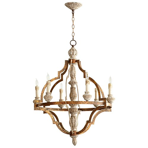 Cyan Design 05256 Bastille 6 Light 1 Tier Chandelier, Sawyers White Wash Plantation Bronze