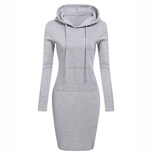 HGWXX7 Womens Casual Solid Patchwork O Neck Long Sleeve Hooded Long Sweatershirt ()