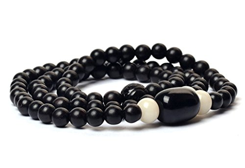 Multi Layers Black Wood and Natural Obsidian Beads Bracelets 8mm