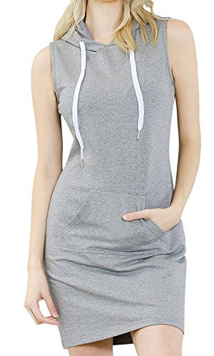 ililily Women Sleeveless Mini Hoodie Dress Bodycon Pullover Jumper Sweatshirt, Heathered Grey, - Sleeveless Jumper