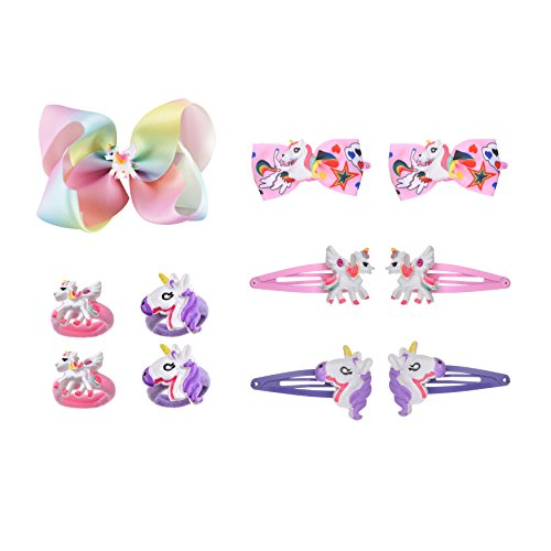 Price comparison product image Bevan Unicorn Hair Clips & Jo Jo Bow, Teenitor 5 Pairs Silicon Snap Hairpin Non Slip & Unicorn Snap Barrettes s & Hair Band for Girls Toddlers in Pairs Beauty Accessories (Color-2)