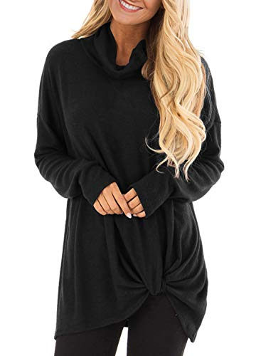 BLENCOT Womens Casual Cowl Neck Long Sleeve Front Twist Knot Solid Loose Tunic Tops