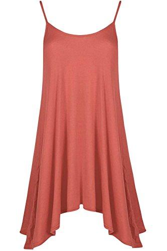 Be Jealous femmes CARACO évasé Patineuse à lanières long SWING Mini Robe débardeur UK grande taille 8-22 - Corail, Plus Size (UK 16/18)