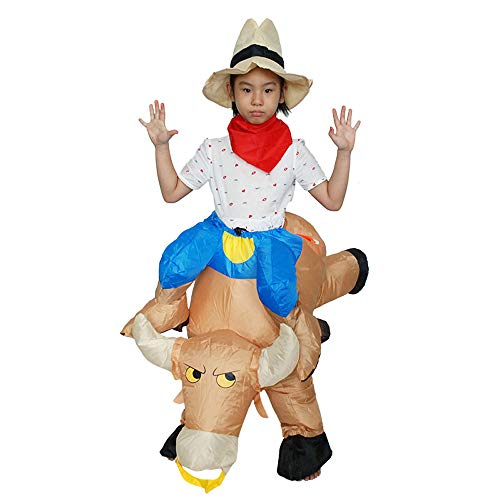 Inflatable Riding a Cow Air Blow-up Deluxe Costume - Child Size Fits 120-150cm Tall -