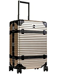 LANZZO Aluminum Magnesium Alloy Luggage with Spinner Wheels TSA Lock Approved Hardshell Travel Suitcase Inlaid...