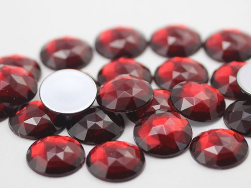 25mm Ruby Garnet A28 Flat Back Round Acrylic Jewels High Quality Pro Grade - 20 Pieces