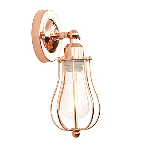 Copper Light Fixture - Permo Industrial Vintage Metal Wire Cage Wall Sconce Lighting Fixture Ceiling Mount Light (Copper)