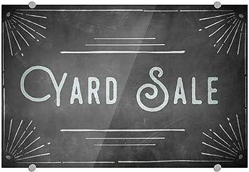 27x18 CGSignLab Yard Sale Chalk Corner Premium Brushed Aluminum Sign