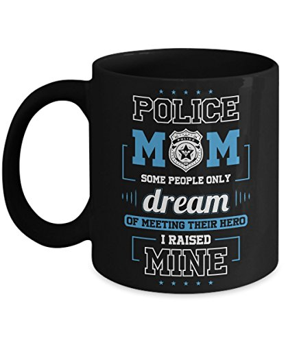 POLICE MOM COFFEE MUG ~ Gifts for a Mom of New proud Military Police, Men/Women/kids/him/her - Prayer - 11 Oz Black Ceramic Tea Cup - World Book Day Costume Ideas 2016