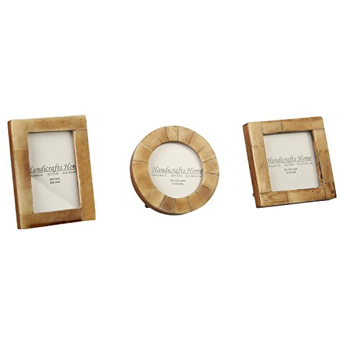 Baby Photo Frame Pure Bone Mother of Pearl Handicrafts Home Handmade Natural Picture Frames Set of 3 Pieces (Antique/Brown)