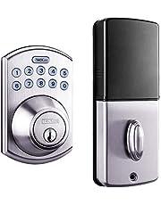 Serrure de porte électronique, à pêne et à clavier satiné en nickel, Tacklife EKPL1A avec verrouillage automatique par pression d'une touche ou verouillage par fermeture à clé