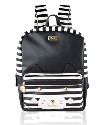 - Betsey Johnson Leo Kitch Cat Face Large School Travel Backpack - Stripe/Black