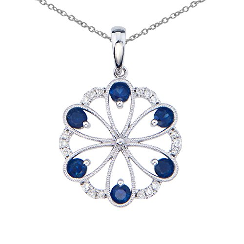 - 0.69 Carat (ctw) 14k White Gold Round Blue Sapphire and Diamond Women's Flower Shaped Filigree Pendant with 18