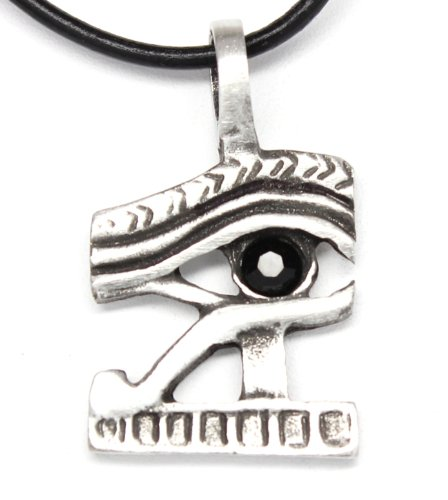 Pewter Eye of Horus Ra Egyptian Pendant on Leather Necklace w/ Jet Black Swarovski (Jet Crystal Necklace)