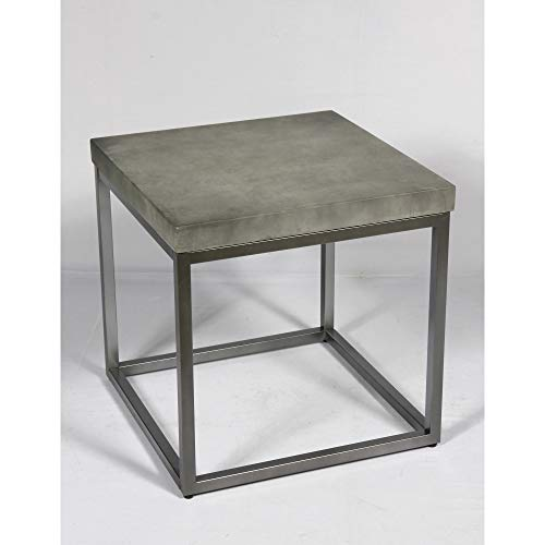 Flint End Table in Slate Gray with Rustic Concrete Look Top And Modern Metal Frame, by Artum Hill (Flint Concrete)