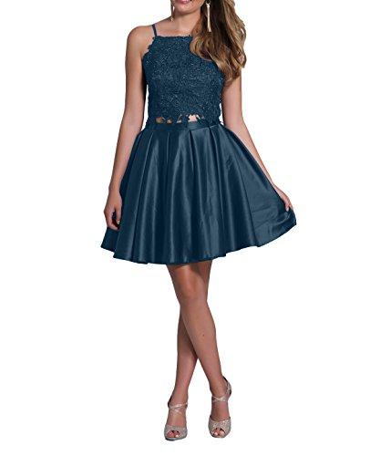 Festlichkleider Cocktailkleider Satin Kurzes mia Spitze Linie La Blau Partykleider Abendkleider Mini Promkleider Brau Dunkel Rock A axFwqR
