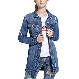 Tanming Women's Casual Distressed Ripped Long Denim Jean Jacket Dress Coat