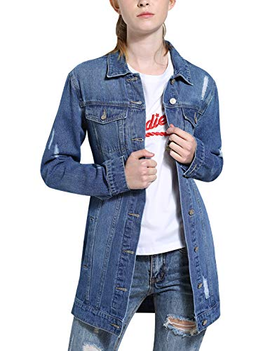 Tanming Women's Casual Lapel Slim Long Sleeve Denim Outercoat Jacket Windbreaker (X-Large, Blue TM1)
