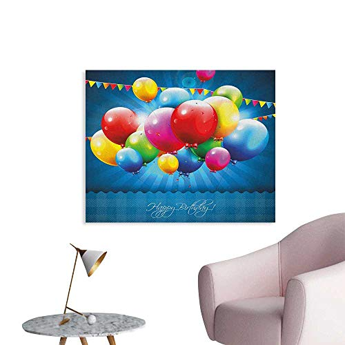 Anzhutwelve Birthday Painting Post Vibrant Colored Realistic Balloons and Party Flags on Blue Backdrop Happiness Poster Print Multicolor W36 xL32