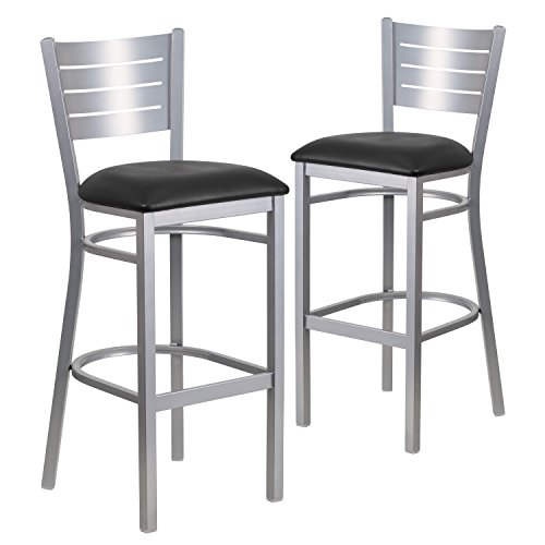 Flash Furniture 2 Pk. HERCULES Series Silver Slat Back Metal Restaurant Barstool - Black Vinyl Seat