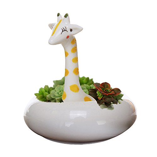 GeLive Giraffe Pot Succulent Planter Tabletop Decorative Plant Pot White Ceramic Kitty Ornament Animal Flower Pot Decor Vase