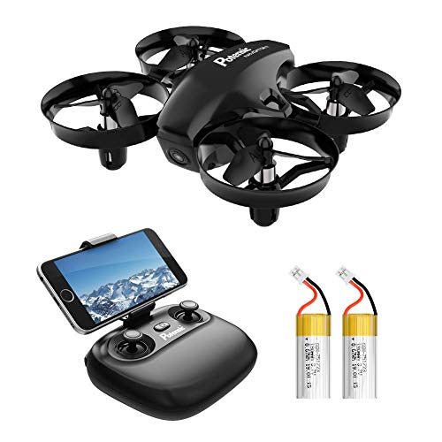 Potensic A20W Mini Drone for Kids with Camera, RC Portable Quadcopter 2.4G 6 Axis – Altitude Hold, Headless, Remote Control, Route Settiing, Real Time FPV, 2 Batteries