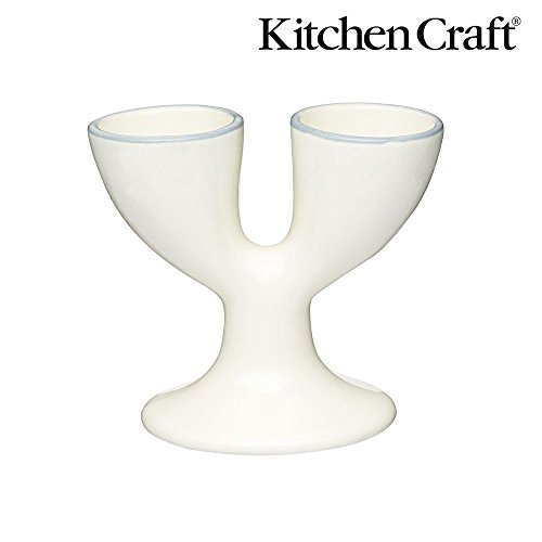(KitchenCraft Classic Collection Ceramic Double Egg Cup in Cream)