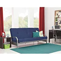 Mainstays Silver Metal Arm Futon Frame with 6 Mattress, Multiple Colors