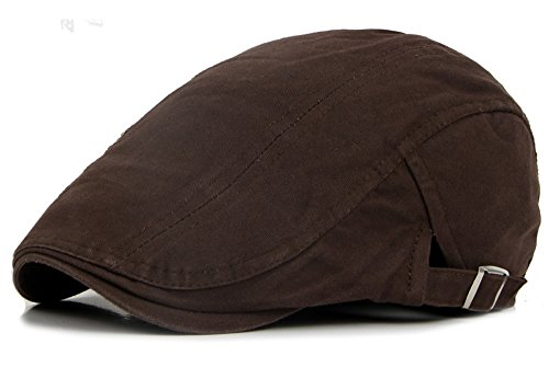 Qunson Men's Cotton Flat IVY Gatsby newsboy Driving Hat Cap (Brown Driving Cap)
