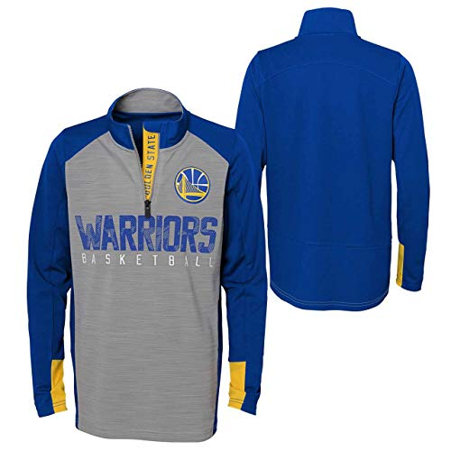 Outerstuff NBA NBA Kids & Youth Boys Golden State Warriors Shooter 1/4 Zip Long Sleeve Top, Grey, Youth X-Large(18)