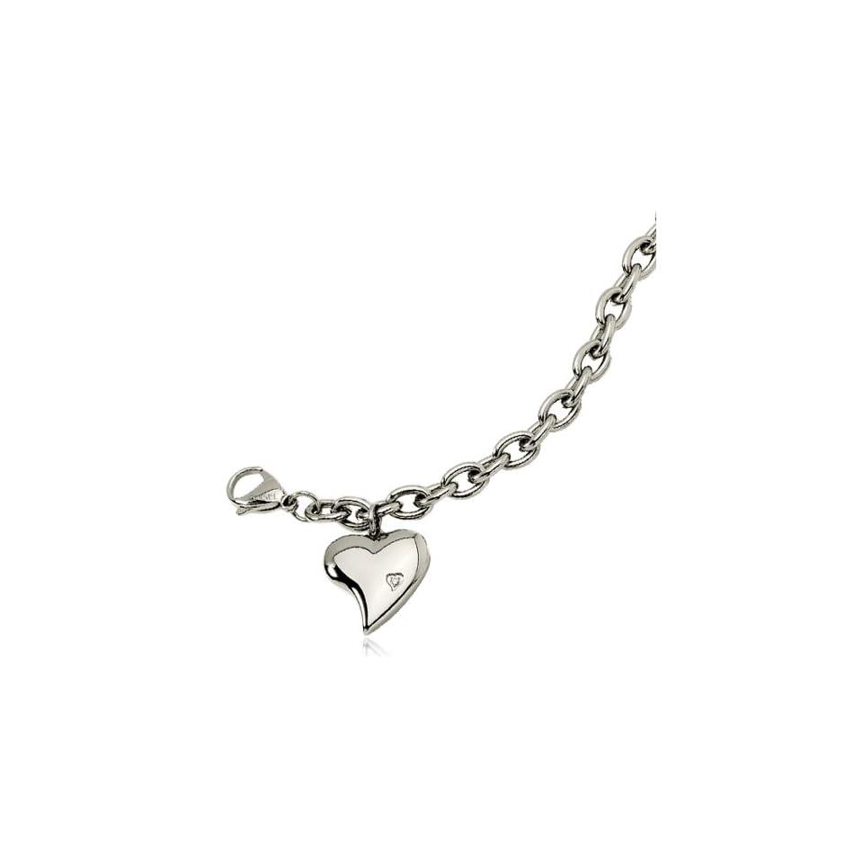 Womens Stainless Steel Heart Charm Bracelet