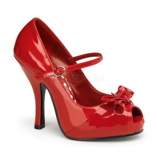 4 1/2 inch Heel, 3/4 inch Hidden Platform Open Toe Mary Jane W/ Bow Red Patent
