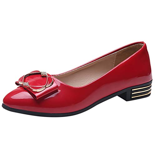 Nadition Fashion Low Heel Pump ❤️️ Fashion Women Patent Leather Pumps Casual Single Shoes Flat Wedding Office Shoes Red