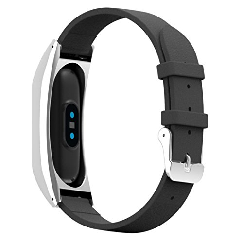 Price comparison product image Hunputa New Replacement Wristband Band Strap + Metal Case Cover For Xiaomi Mi Band 2 Bracelet (Black)