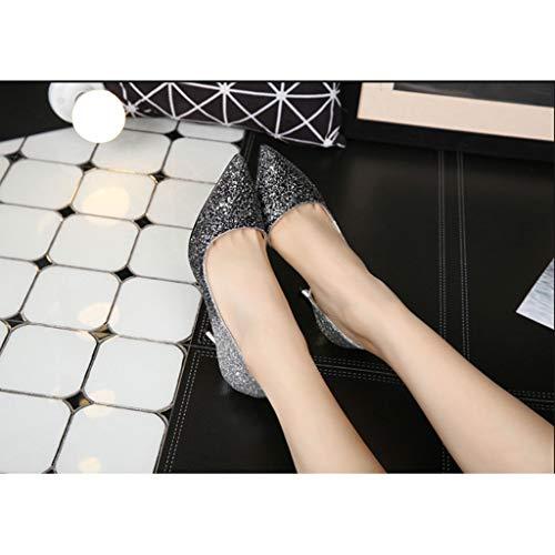 Pointu 3 Aiguille Robe Taille 38 Fermé Pompes Chaussures Haut Femmes 2 Fr Noir Mariage Glissement Pour Orteil couleur Sur Soirée De Noir Talon fEqRpdxwR