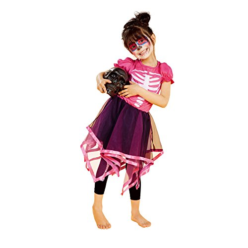 Halloween Costumes Ideas With Tutus (Halloween Cosplay Costume for Girls Tutu Dress with Skeleton Pattern (4-6years, StyleB))