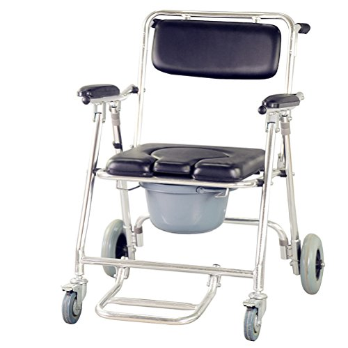 Zorvo Mobile Commode Chair Aluminum Shower Chair wheels with/Bedside Commode W/Casters and Padded Seat with Commode Pail and Cover Shower Chair 350 lbs Toilet -Shipping from USA,3-5 Days for Deliver ()