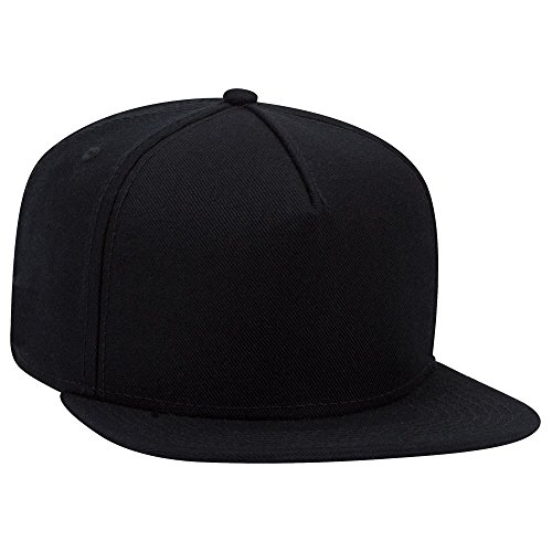 (OTTO Wool Blend Twill Square Flat Visor SNAP 5 Panel Snapback Hat - Black)