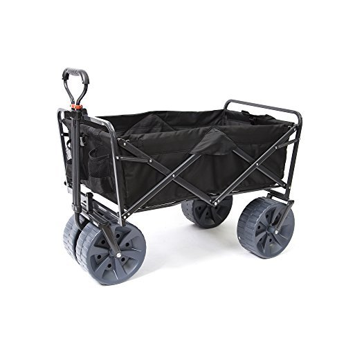 Utility Adjustable Compact Cart (Mac Sports Heavy Duty Collapsible Folding All Terrain Utility Wagon Beach Cart (Black))