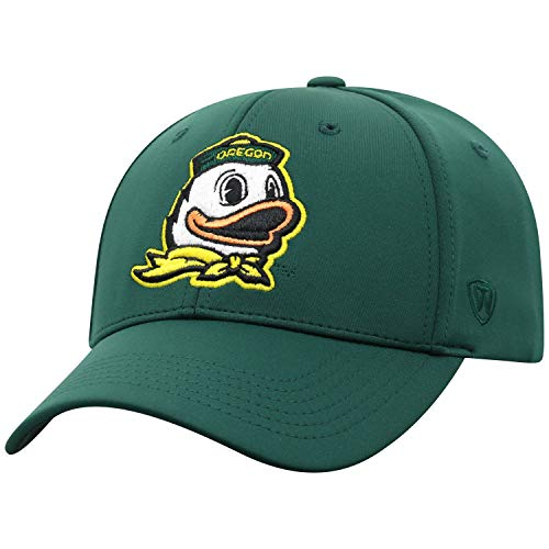 Top of the World Oregon Ducks Men's Fitted Hat Icon, Green, One Fit