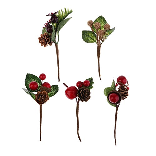 Prettyia 5Pcs Shabby Chic Mini Artificial Plastic Flower Berries Pine Cones Bouquets for Wedding Card Decor Craft DIY Wreath Gift Box Package Craft Decorations