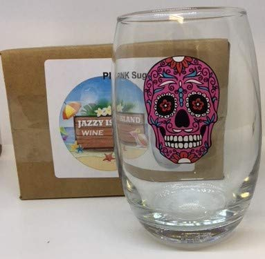 Stemless Wine Glasses Sugar Skull Halloween and Cinco De Mayo Parties, Picnics, Celebrations (Pink)]()