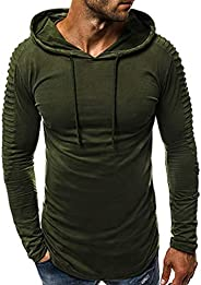 POLUL Mens T Shirts Men's Outdoors Long Sleeve Hoodies Casual Big and Tall Drawstring Pullover Outer