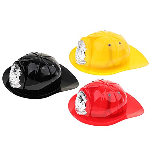 Flameer 3PCS Children Fireman Chief Helmet Firefighter Hat Fancy Dress Accessories Kids Halloween Party Role Play Toy]()